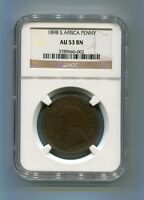 South Africa Zar NGC Certified 1898 Kruger Penny Au 53 Bn Coin
