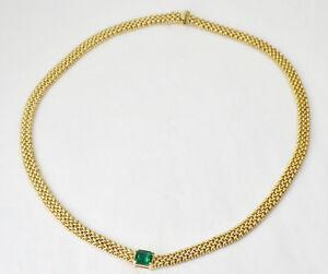 14K Yellow Gold Lab Created Emerald Woven Popcorn Chain Chocker Necklace 33.9 GR