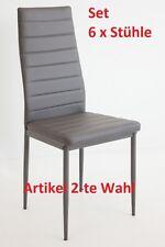 6 x Esszimmerstühle MILANO - grau - Esszimmerstuhl Küchenstuhl Stühle 6er Set