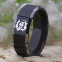 South Carolina Gamecocks Tungsten  8MM Band Black With Shiny Edges