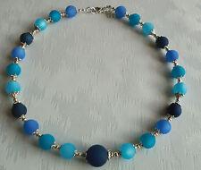 Perlen Kette Halskette Collier Polarisperlen Blautöne Silber NEU