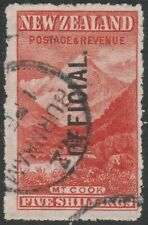 NEW ZEALAND 1907/11 SH O67 5s DEEP RED MOUNT COOK OFFICIAL FINE USED