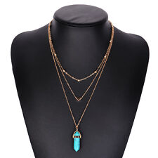 Hot Selling Bohemia Nature Stone Hexagonal Pendant Multi Layer Necklace Jewelry