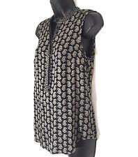 Noa Noa womens blouse XS paisley floral tank tunic black cream sleeveless