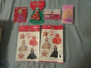 Barbie Items ..Stickers, ornament, tissues, travel toothbrush holiday pin