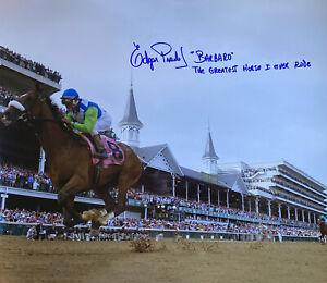 Barbaro photograph Edgar Prado autograph 16x20 Kentucky Derby RARE INSCRIPTION