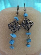 Retro/Vintage Earrings. Gold Coloured Dangle Earrings with Turquoise stones.