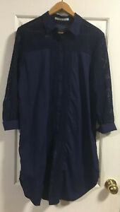 Willow Womens Navy Cotton Long Sleeve Shirt Size 12