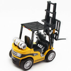 1/24 Forklift Truck Construction Vehicle Diecast Model Car Toy Gift Light Yellow