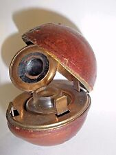 Antique Ink Well Leather Travel Case, Lap Desk Assc. Golf Ball/Football Style
