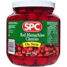 SPC RED MARASCHINO CHERRIES WITH STEM 2KG - Ideal for Cocktails POST