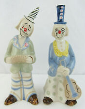 2 Vintage 1980's Musical Theatrical Clown Figurines With Instruments and Masks