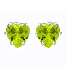 Basket Heart Peridot Solitaire Earrings Studs 14K White Gold Rhodium Plated 6MM
