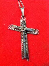 "Crucifix Pendant Vintage Ornate Silver Cross 1-3/4x2-1/4"" W/ Silver Chain Beauty"