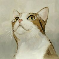 Original Oil painting - impressionism art - cat portrait  by uk artist  j payne