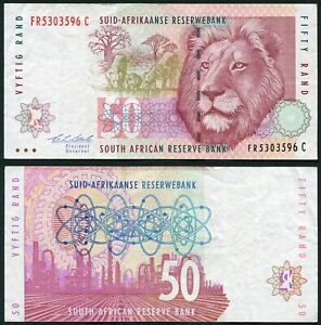 South Africa 50 rand 1992-1999 Lion with Cubs & Sasol Oil Refinery P125b F/VF #1