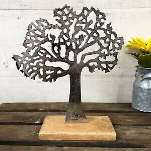 Silver Metal Tree Of Life Sculpture 26cm Home Wooden Stand Decoration Ornament