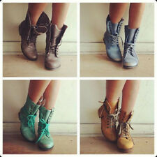 Retro Women Combat Boots Lace-up Chunky Heel Shoes Motorcycle Ankle Martin Boots