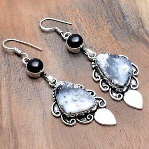 "Dendrite Opal Black Onyx Handmade Drop Dangle Earrings Jewelry 2.8"" AE 35290"