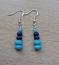 Unusual  TURQUOISE / LAPIS gemstone drop EAR RINGS Sterling Silver gift wrapped