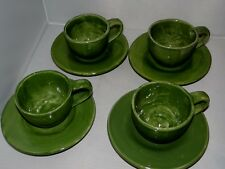 Set of 4 Pottery Barn SAUSALITO Moss Green 12oz Cup & Saucer Hand Painted Mexico