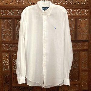 Ralph Lauren Men's Large White Button Down Linen Shirt Classic Fit Blue Pony