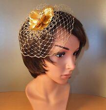 0b7a5486bc2afd Fascinator Haarschmuck Hut Headpeace Gesteck gelb gold Kamm Blume Netz  Schleier