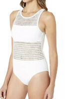 Bleu Rod Beattie White High Neck Tank One Piece Swimsuit Women's Size 10 2925