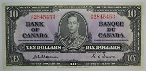 1937 BANK OF CANADA $10 DOLLAR A/D 2845453 BC-24a SCARCE OSBORNE-TOWERS NOTE