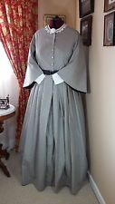 Civil War Reenactment Day Dress Size 26 Gray with  Black Design   Pagoda Sleeves