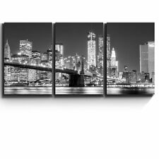 "3 Piece Canvas - Black and white Manhattan Skyline and Brooklyn Bridge-24""x36""x3"