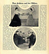 P.Felix Das Fechten auf der Bühne Italienisches Fechten mit Dolch Florett...1905