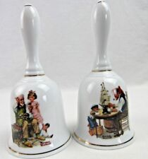 "1985 Norman Rockwell ""For a Good Boy� + ""The Cobbler"" Bell Collector Porcelain"