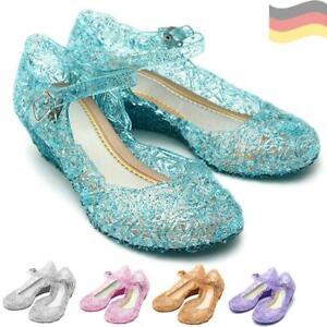 Prinzessin Mädchen Absatz Schuhe Elsa Eiskönigin Frozen Kostüm Karneval Disney