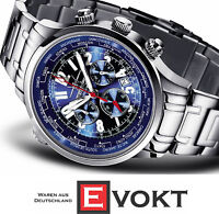 FIREFOX FFS40-103 Worldtimer Aviator Watch Chronograph Sunray Blue Genuine New