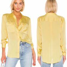 Equipment Slim Signature Top Blouse Womens Size L Yellow Satin Button Shirt New