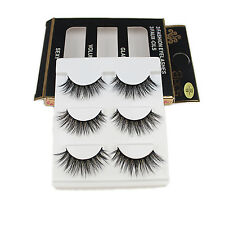 3 Pairs 100% Faux Mink Hair False Eyelashes Extension Wispy Cross Lashes ua