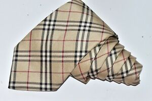 """AUTHENTIC BURBERRY LONDON BEIGE Men's Neck Tie W: 3 3/4"""" by L:61"""" made in ITALY"""