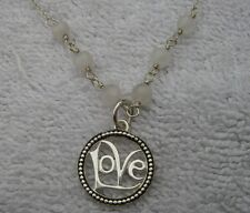 Nice Sterling LOVE Pendant NECKLACE-18 Inch Chain w/White Beads-Italy-NR