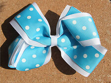 Personalized Embroidered White Turquoise Polka Dots Double Layered Hair Bow