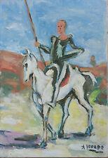 Huile sur toile ancienne A. Lepape Don Quichotte Cervantes Espagne