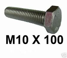 M10 x 100 Stainless Steel Hex Bolts / Set Screws 10mm x 100mm Fully Threaded x2
