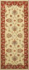 Traditional Hand-Knotted Oriental Chobi Runner Area Rug Beige/Red Color(2.5 x 7)