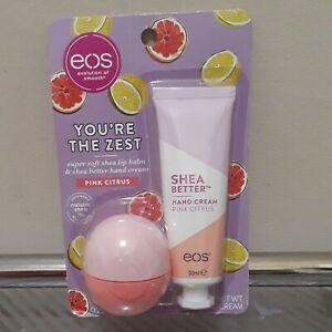 EOS Pink Citrus You're The Zest Lip Balm & Hand Cream .25oz/1oz NEW Sealed