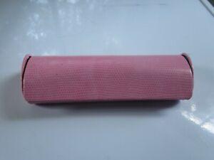 Eyeglass Case w Cleaning Cloth Semi Hardshell Pink Snakeskin Magnetic Close VGUC