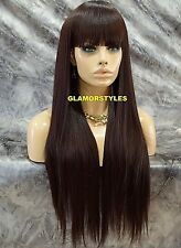Long Straight W Bangs Brown Synthetic Full Wig Heat OK Hair Piece Heat OK #4 NEW