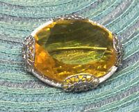 Vintage Art Deco Pin Glass Faceted Topaz Color Rhodium Filigree Brooch