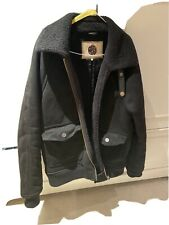 Mens Pretty Green Faux Suede Jacket Black Size Large