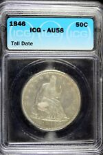 1846 - ICG AU58 Tall Date Seated Liberty Silver Half Dollar!!!  #HD0261