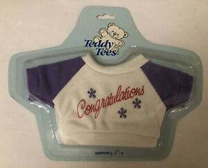 "Vintage APPLAUSE TEDDY TEES ""Congratulations"" T Shirt 1986 New"